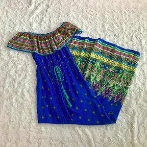 Flying Tomato Off Shoulder Blue Paisley Maxi Dress
